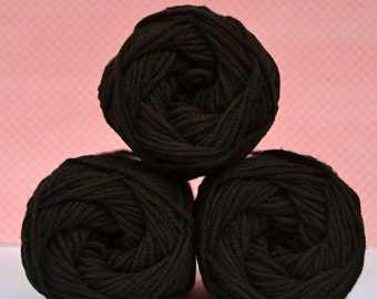 Kacenka - soft cotton/acrylic yarn for crochet and knitting, Brown-Black color, No. 7994, 1 ball/50 g, Producer NCT