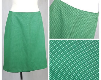Vintage 70's Skirt Green A-line Knee Length Mod/GoGo Trapeze UK14/16 EU40/42