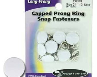 Snap Size 24 Fasteners, Capped Prong White Color - 10 Sets