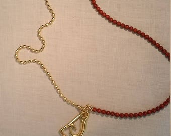 Gold plated necklace, two lines with real coral, mother's day gift, gift for woman, unique, Can be twisted into two chains.