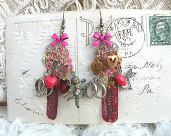 valentine love earrings assemblage chandelier hearts romance kiss sweetheart cupid charm pink red