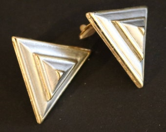 Vintage New 3D Triangular Clip-On Earrings