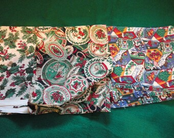 Vintage Christmas Fabric Three Different Pieces for Your Christmas Joan Messmore Cranston Print Works