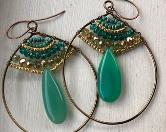Green chrysoprase hoops