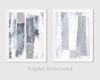 Grey Abstract Art - Set of 2 Prints - Minimalistic Art - Abstract Painting - Abstract Print Set - Poster Sized Print - Instant Download