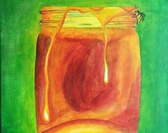 Honey Jar Original Acrylic Painting 16x20