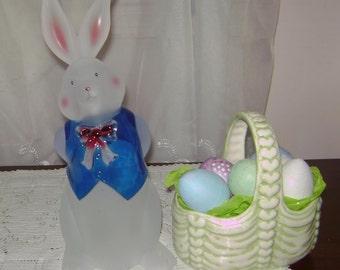 Handmade Glass Easter Basket & Acrylic Easter Bunny
