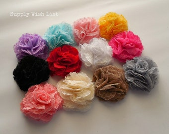 Chiffon flower, Set of 2, 2.5 inch, YOU PICK, lace mesh flower, DIY hair flower, hair flower, fabric flower, flower for baby headbands