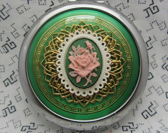 Compact Mirror Pink Rose on Green Comes With Protective Pouch