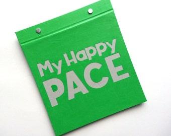 Running Bib Holder - My Happy Pace  - Gift for Runner - Race Bib Book Hand-bound for Runners Green and Light Gray