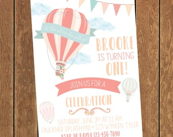 Printable Hot Air Balloon Up Up and Away Oh the Places She Will Go Girl Birthday Party Invitation First Birthday Digital File Only