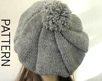 Knit Hat Pattern-  Digital Hat Knitting PATTERN PDF- Outlander Beret with Pompom - Downloadable Pattern   womens hat pattern