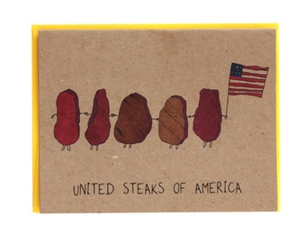United Steaks of America Greeting Card