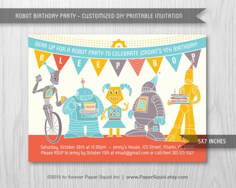 Robot Birthday Party Invitation - 5x7 Inches - Digital File - Print Your Own Item #155