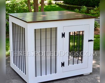 Custom Kennel - Large Wood Dog Indoor Crate - Wood Furniture - As Seen In Southern Living Magazine | Hand Made in NC by Three Spoiled Dogs