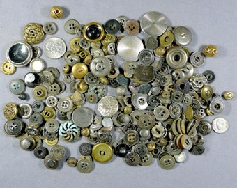 Vintage Metal Buttons- Large lot of various sizes-A SteamPunk Delight