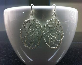 sterling silver oval earrings