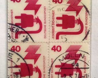 1972 German Frayed Electrical Cord Stamp Bookmark