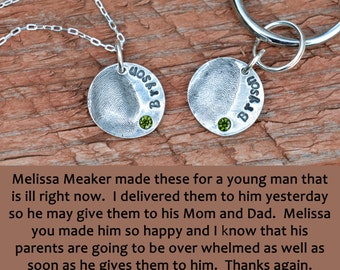 Fingerprint Necklace, Fingerprint Jewelry - Fingerprint Pendant with name and with or without birthstone