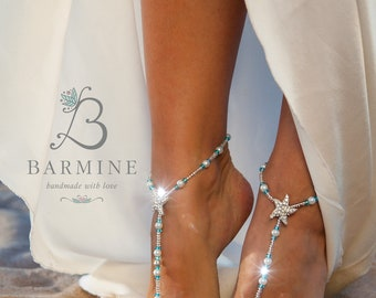 Barefoot sandals wedding, Bridal foot jewelry, Beaded Beach Destination wedding anklet, Footless sandals, Starfish something blue accessory