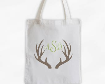 Antler Monogram Cotton Canvas Personalized Tote Bag - Initials Deer Silhouette Custom Gift in Beige and Light Green  (3043)