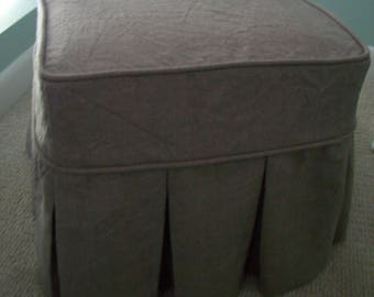 Ottoman Slipcover with Box Pleat Skirts, Linen or Canvas Ottoman Cover