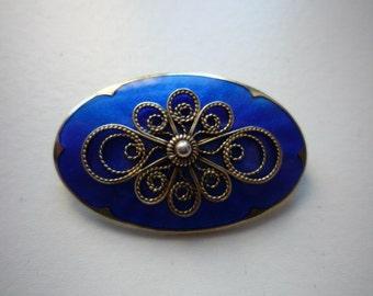 Vintage Ivart T Holth Norway Blue Guilloche Sterling Silver Enamel Brooch Pin