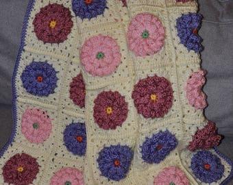 Crocheted Baby Girl Flower Blanket