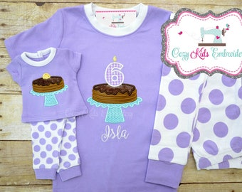 Pancake pajamas, girl pancake pajamas, birthday pancake pajamas, pancake pj, birthday pajamas, birthday pj, pancake applique embroidery