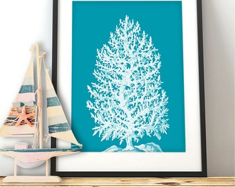 Sea Blue Coral Print White Tree - Nautical print coral art coral decor beach decor wall decor nautical picture nautical decor beach house