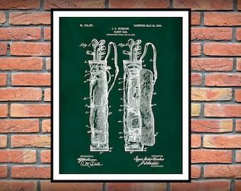 1905 Golf Bag Patent Print - Caddy Bag - Golf Pro Shop Decor - LPGA Art - PGA Wall Art - Tiger Woods Fan - Fathers Day Gift