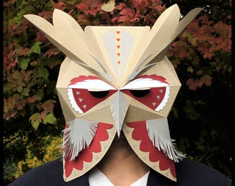 Owl printable mask, digital download masquerade mask, papercraft bird mask, full face mask low poly, bachelorette party costume eco friendly