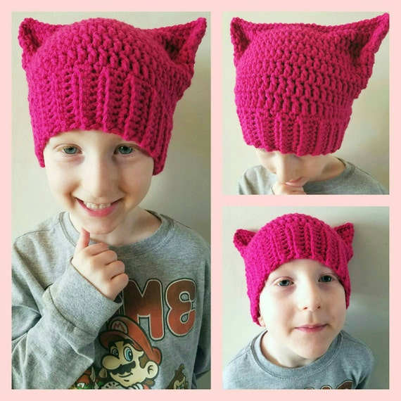 Kids Pussy Hat Project, Girls Pussy Hat, Baby Girl Pussy Hat, Resist Kids Hat, Pussy Hat Project, Kids Kitty Hat, Baby Girl Kitty Hat