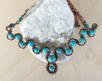 Weave women's necklace - Turquoise - necklace - Wire wrapped - weave jewelry - Turquoise - Artisan Jewelry Metal 18 inch