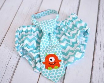 Little Monster Little Guy Tie and Diaper Cover in Aqua Chevron with Orange and Lime Green - Lil Monster Birthday Party Cake Smash Outfit