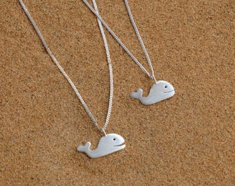 Silver whale necklace, Whale necklace, Sterling silver whale necklace, Whale silver pendant, Women necklace, Summer necklace, Valentine Gift
