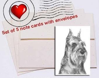 Schnauzer Pencil Note Card Set