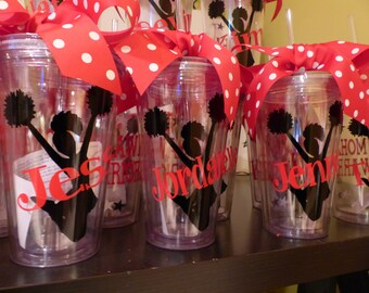 Personalized Cheerleader Tumblers  with straw - Banquet Gifts, football, coaches, cheerleaders, gymnastics 16 oz BPA Free Tumbler