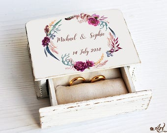 Rustic ring bearer box, Wedding ring box Personalized wedding box, Custom ring box, Wedding Ring Box, Ring Bearer Pillow Wedding Ring Holder