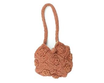 70s Hand Knit Purse Roses Terracotta Handbag Shoulder Bag Vintage 1970s Hippie Boho Festival Fashion