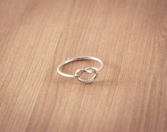 SALE! Love Knot Ring,  Sterling Silver,  Hand made, Friendship Ring, Promise Ring, Valentine's Ring, Gift