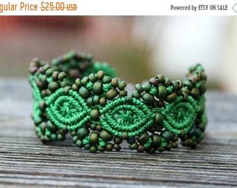 SALE Micro-Macrame Beaded Cuff Bracelet - Green