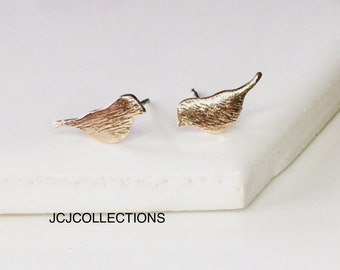 SALE... Tiny 18k Rose Gold Bird Stud Earrings