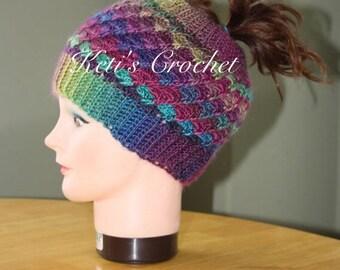 Ponytail Hat,Crochet Ponytail Hat,Multicolour Ponytail Hat,Ponytail Beanie,Crochet Ponytail Beanie,Reversible Ponytail Hat,Ponytail