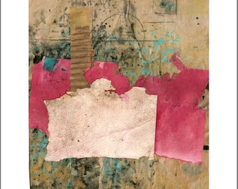 What Remains, Original Collage with Weathered and Hand Painted Papers 8 x 10 on 11 x 14 Backing