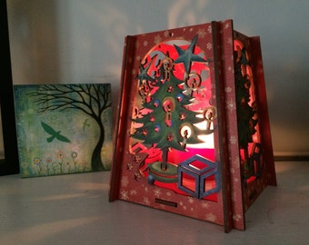 Laser Cut Christmas Tree Candle Holder Hand Painted