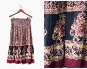 Vintage ethnic cotton wrap skirt | free size