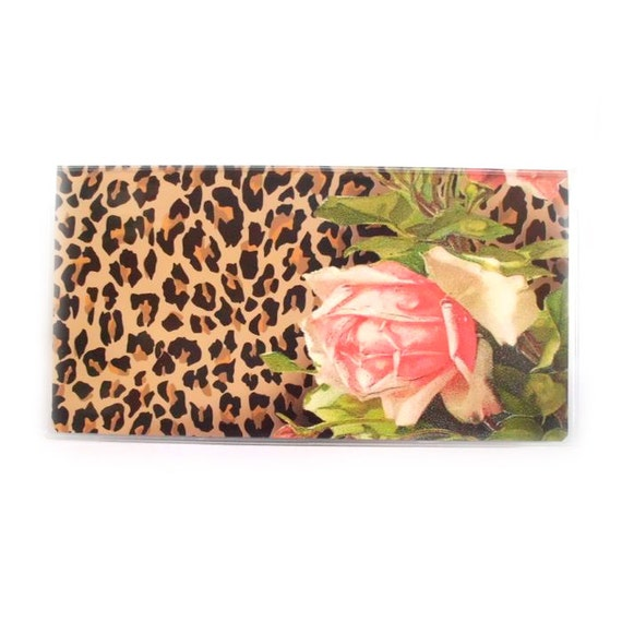 Pretty Checkbook Cover ~ Checkbook cover leopard and roses victorian floral with