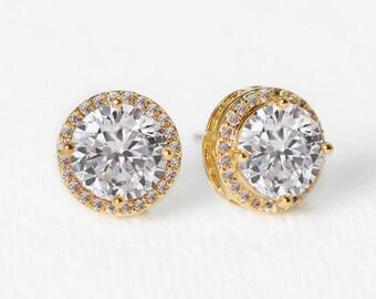 Wedding Earrings Gold Jewelry Stud Earrings Wedding Jewelry Gold Earrings Crystal Earrings Bridal Accessories Bridal Sets E271-G