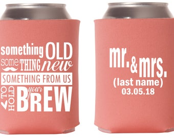 Wedding Can Coolers - To have and to hold - Monogram - Personalized Can Coolers, Custom Can Coolers, Wedding Favors